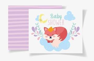 baby shower kort mall med söt räv tjej