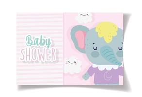 baby shower kort mall med söt elefant vektor