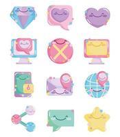 Sammlung von Comic-Ikonen für soziale Netzwerke