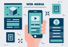 Gratis platt webbmedia vektor illustration