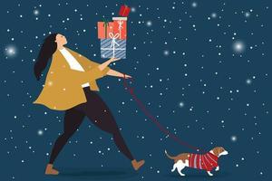 Weihnachtskonzept mit Frau gehendem Hund und Haltegeschenken vektor