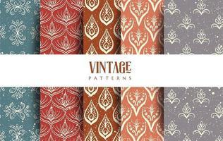 fem vintage mönster design paket vektor