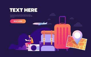 Reisen um die Welt, weltweite Abenteuer-Landingpage vektor