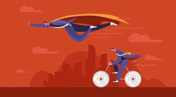 Geschäftsmann Superheld fliegt an seinem Konkurrenten vorbei
