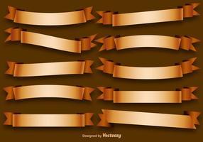 Vector Set Von Goldenen Bändern