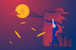 Unternehmen sman beobachten und zeigen Geld Mond am Himmel