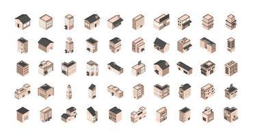 verschiedene Gebäude und Häuser isometrische Symbole vektor