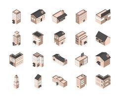 byggnader och hus isometrisk Ikonuppsättning