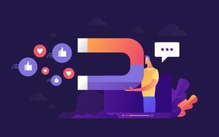 Geschäftsmann hält Magnet, um Social-Media-Aktionen anzuziehen vektor