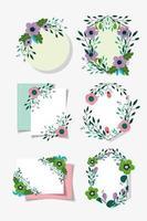 Sammlung von Blumenkranzkarten Vorlage vektor