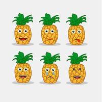 Ananas Emoticon Gesichter vektor