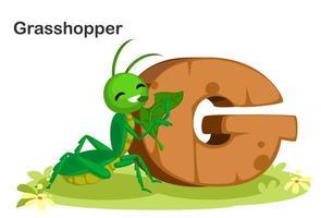 g för gräshoppa vektor