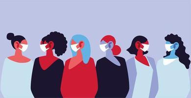 Frauen, die medizinische Gesichtsmasken verwenden und sich selbst schützen
