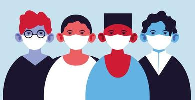 mn in medizinischen Masken, die sich gegen Coronavirus schützen
