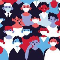 människor med medicinska masker som skyddar sig mot epidemisk infektion vektor