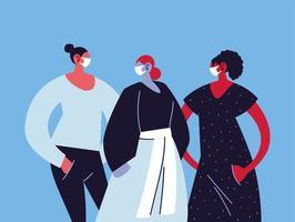 kvinnor med medicinska masker och skydda sig själva vektor