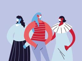 kvinnor som använder medicinska masker och skyddar sig själva vektor