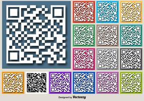 Färg För RFID Vector Knappar Med Vit QR Kod Ikon