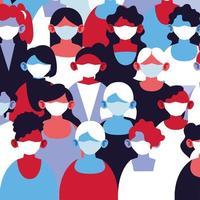 grupp kvinnor i medicinska masker och skyddar sig själva vektor