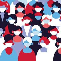 Gruppe von Frauen in medizinischen Masken und schützen sich
