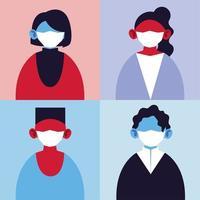 uppsättning av personer med medicinska masker, skydd av pandemiinfektion med coronavirus vektor