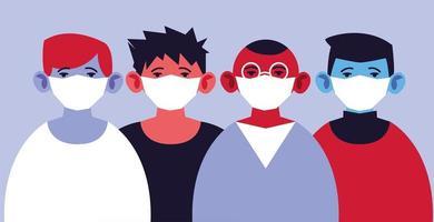 Gruppe von Männern in medizinischen Masken, die sich selbst schützen