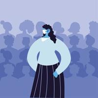 kvinna som använder medicinsk mask undviker virusinfektion