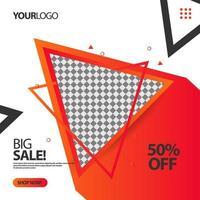 '' stor försäljning '' flödande triangel sociala medier post banner mall vektor