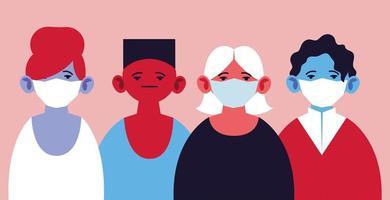 uppsättning människor med medicinska masker vektor