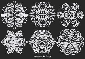 Abstrakt Ornamental Vit Snowflakes Vector Set