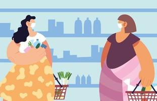 kvinnor med medicinsk mask i stormarknaden