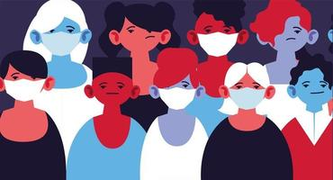Menschen mit medizinischen Masken und sich selbst schützen