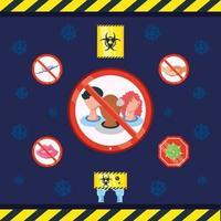 uppsättning ikoner för förebyggande av coronavirus