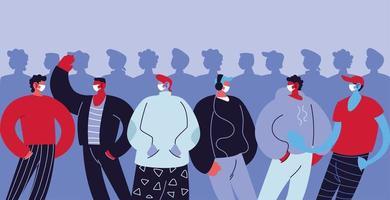 Männer, die medizinische Masken tragen und sich schützen
