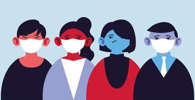 människor som använder medicinska masker och skyddar sig mot epidemi vektor
