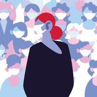 kvinna bär mask undviker infektion