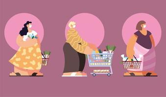 människor som shoppar på stormarknaden i social distans vektor