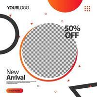 '' ny ankomst '' cirkel sociala medier post banner vektor
