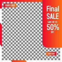 Orange Außenrahmen Einzelhandelsverkauf Social Media Post Vorlage