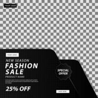 dunkle Mode Verkauf Social Media Ebenen Banner Vorlage