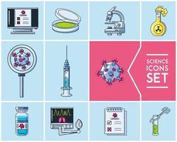 vetenskap ikoner set och laboratorieforskning