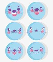 söta kawaii djur ansikten emoji uppsättning vektor