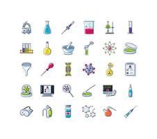 uppsättning ikoner för laboratorieforskning