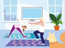 zwei Leute, die zu Hause trainieren