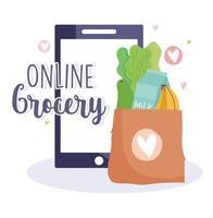 online-enhet och påse med matvaror vektor