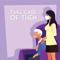 Frau, die medizinische Maske trägt und sich um einen alten Mann kümmert