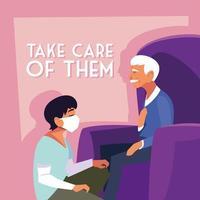 Mann trägt medizinische Maske und kümmert sich um einen alten Mann