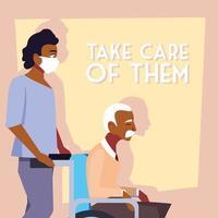 junger Mann, der medizinische Maske trägt und sich um alten Mann kümmert