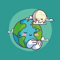 niedlicher Mond mit dem Planeten Erde lächelnd