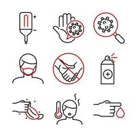 bicolor medicinsk vård och covid-19 line-art ikonuppsättning